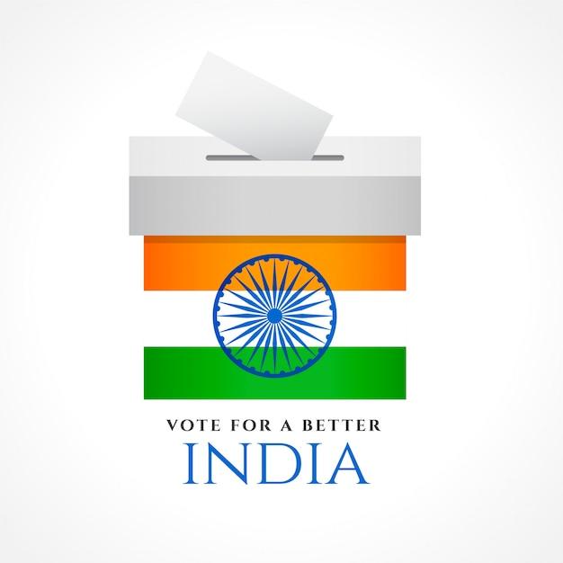 Progettazione di massima di voto dell'india con la bandiera Vettore gratuito