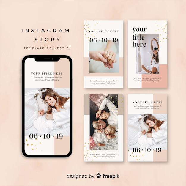 Progettazione di modelli di storie instagram Vettore gratuito