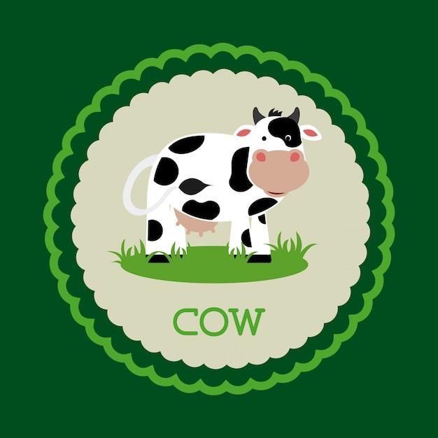Progettazione di mucca su sfondo verde Vettore Premium
