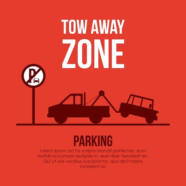 Progettazione di parcheggio sopra l'illustrazione arancio Vettore Premium