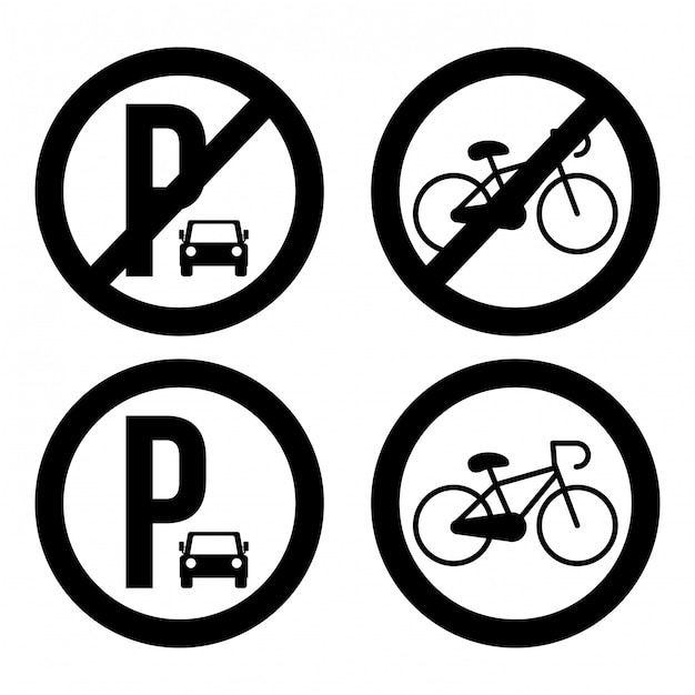 Progettazione di parcheggio sopra l'illustrazione bianca Vettore Premium