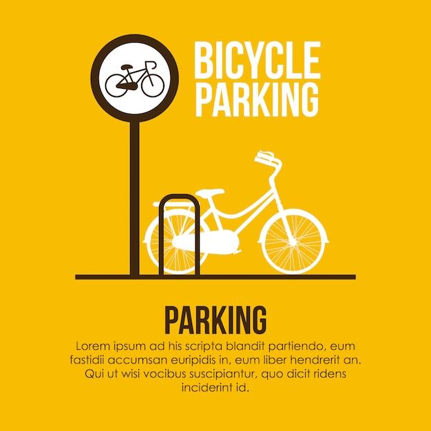 Progettazione di parcheggio sopra l'illustrazione gialla Vettore Premium