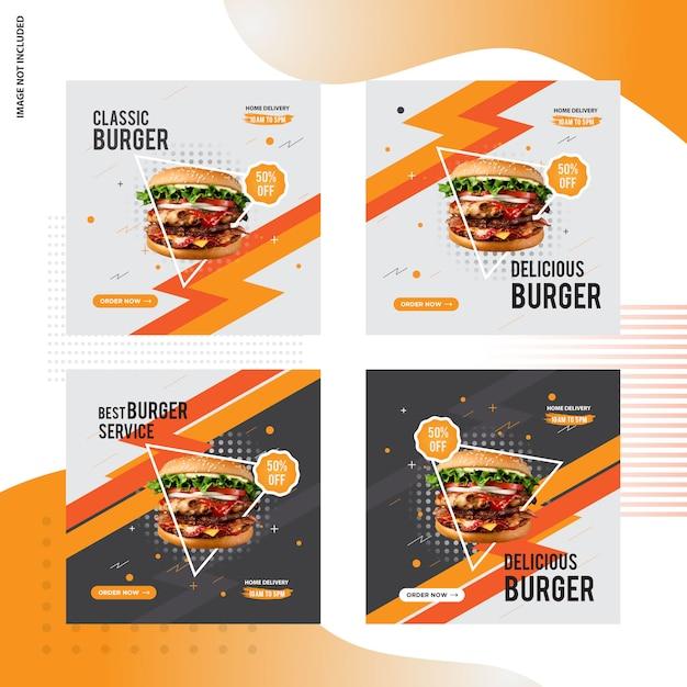 Progettazione di post sociale di hamburger in vendita Vettore Premium