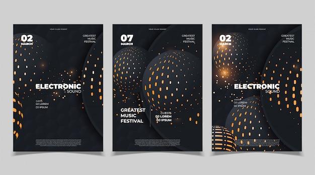 Progettazione di poster di musica elettronica. modello vettoriale Vettore Premium