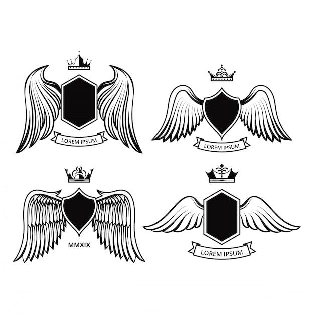 Progettazione di shield con le collezioni vettoriali delle ali Vettore Premium