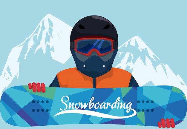 Progettazione di snowboard, illustrazione vettoriale. Vettore Premium