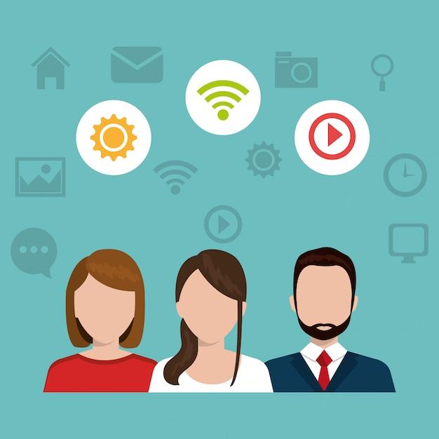 Progettazione di social media. Vettore Premium