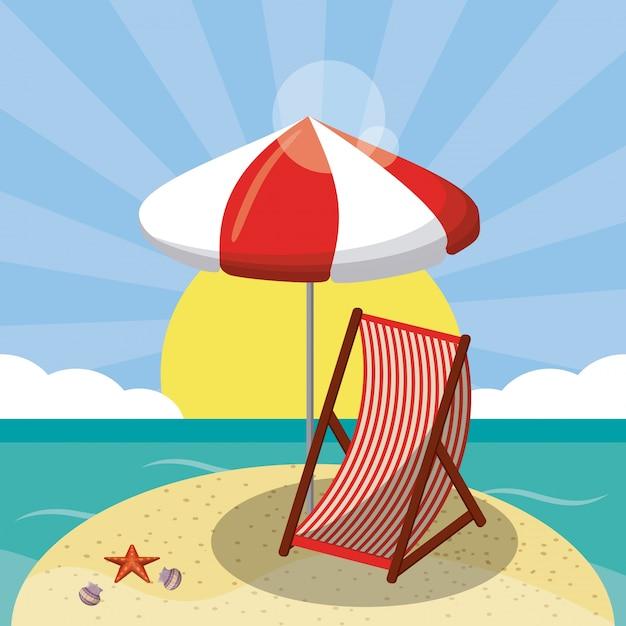 Disegni Di Spiaggia E Ombrelloni.Progettazione Di Spiaggia Estiva In Riva Al Mare Con Ombrellone E