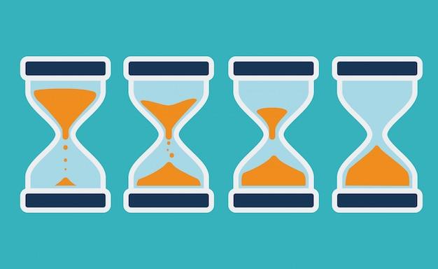 Progettazione di tempo, illustrazione vettoriale. Vettore Premium