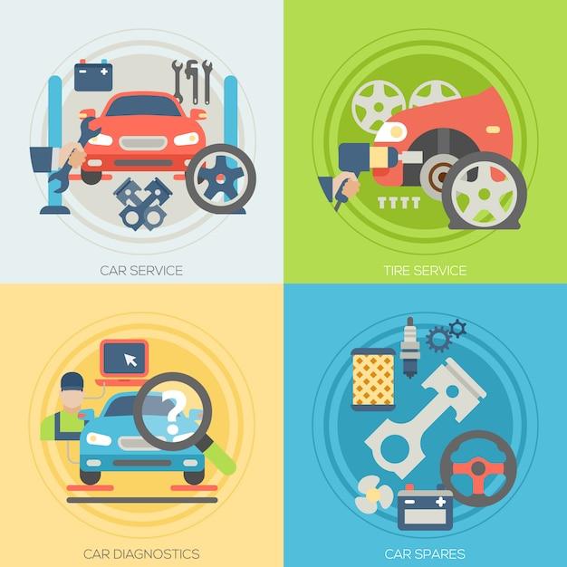 Progettazione di un servizio di riparazione auto con elementi impostati Vettore Premium