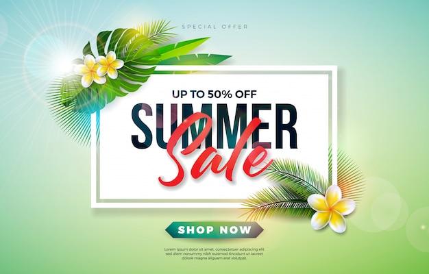 Progettazione di vendita di estate con il fiore e le foglie di palma esotiche su fondo verde Vettore Premium