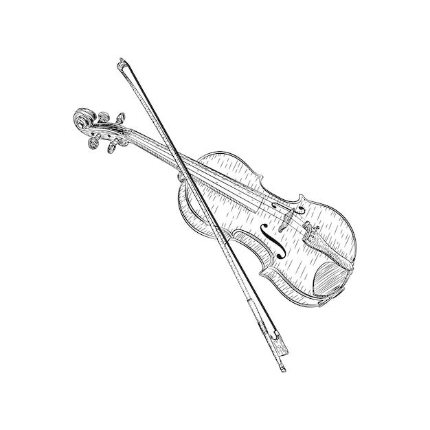 Progettazione di vettore dell'illustrazione del violino Vettore Premium