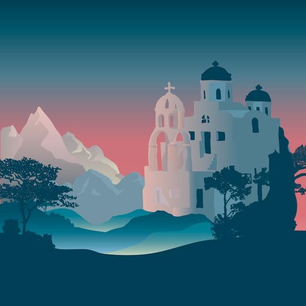 Progettazione di vettore di progettazione delle case delle cicladi di santorini Vettore gratuito