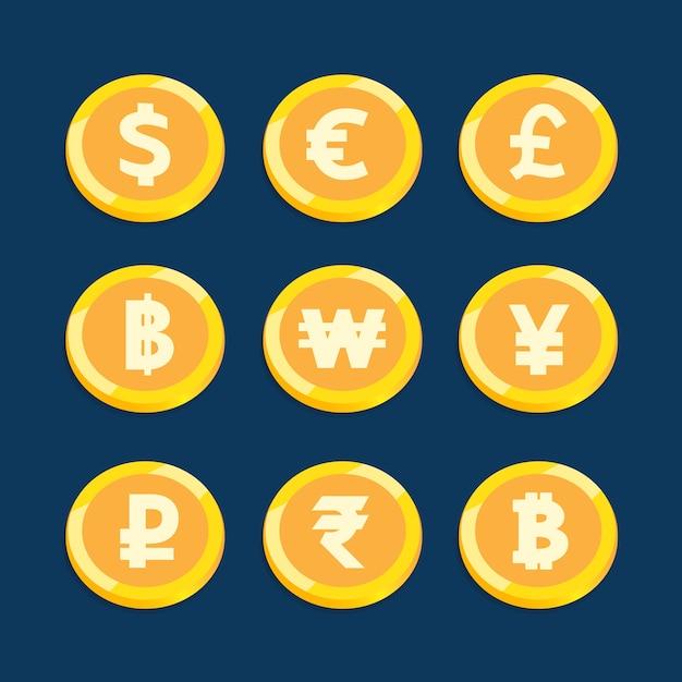 Progettazione di vettore stabilita di valuta della moneta per finanza di affari. Vettore Premium