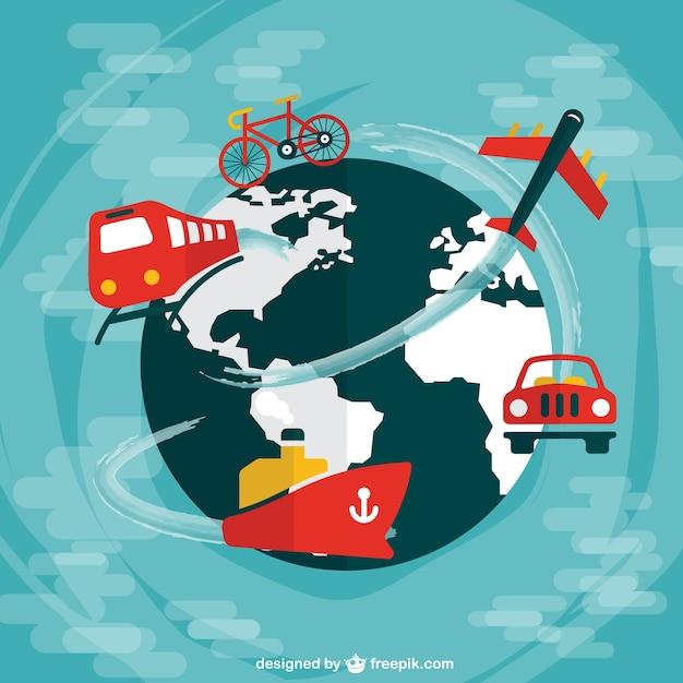 Progettazione di viaggi di tutto il mondo piatto Vettore gratuito