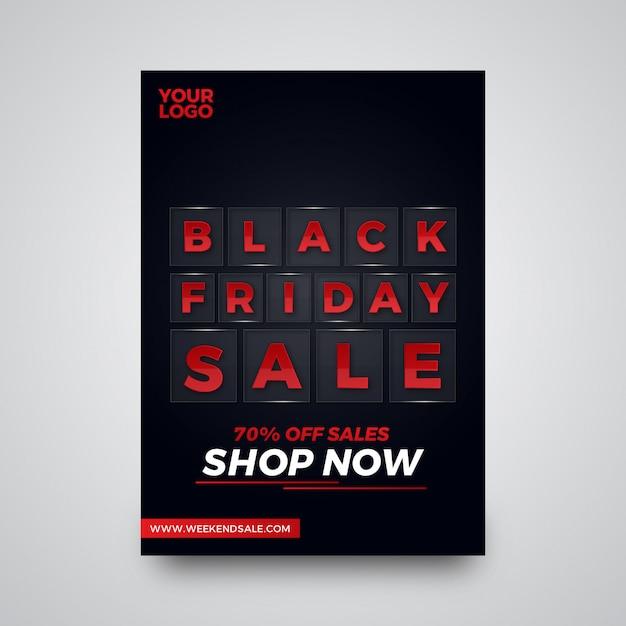Progettazione di volantini di offerta vetrosa di vendita di black friday Vettore Premium