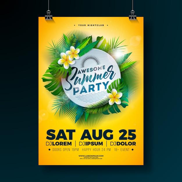 Progettazione di volantino festa estiva di vettore con fiore e foglie di palma tropicali Vettore Premium