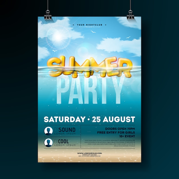 Progettazione di volantino festa estiva di vettore con l'oceano blu sott'acqua Vettore Premium