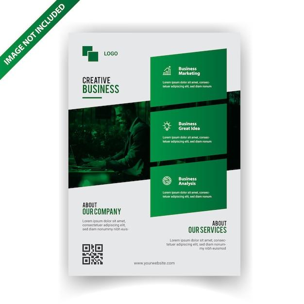 Progettazione di volantino verde business Vettore Premium