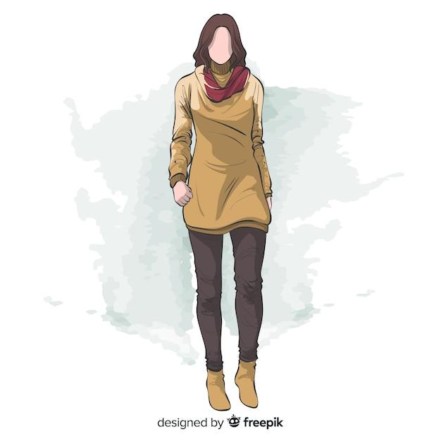 Progettazione disegnata a mano dell'illustrazione di modo Vettore gratuito