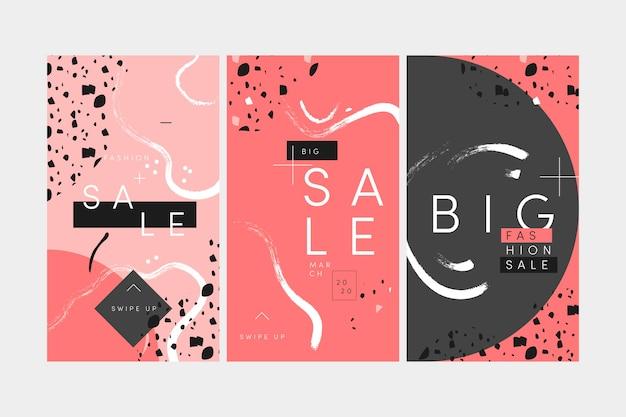 Progettazione disegnata a mano di storie del instagram di vendita Vettore gratuito