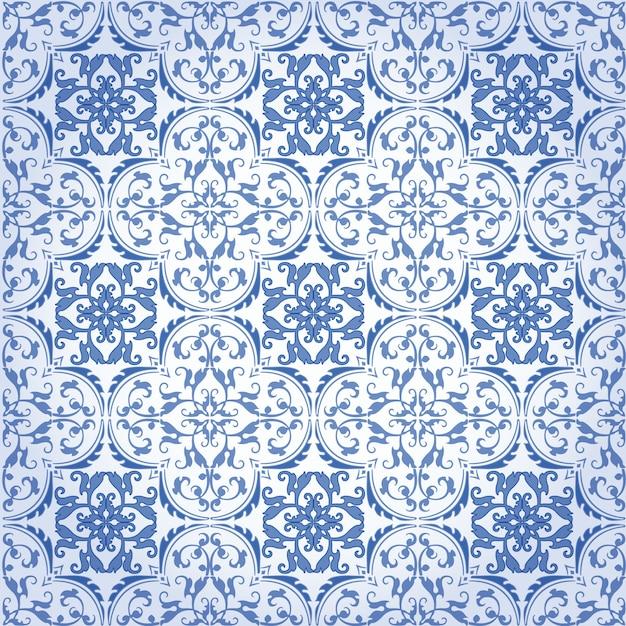 Progettazione e carta da parati senza cuciture del modello del fondo del damasco fatte delle mattonelle di ceramica di struttura turca nel vettore Vettore Premium