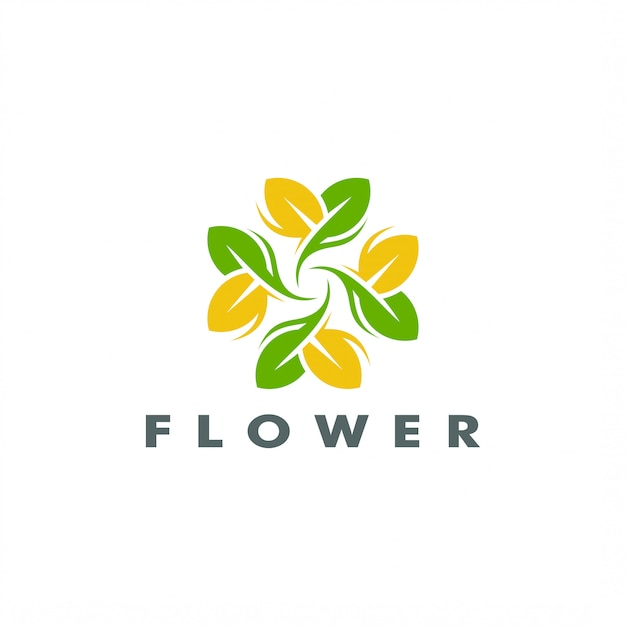 Progettazione elegante astratta di vettore di logo del fiore della foglia dell'albero Vettore Premium