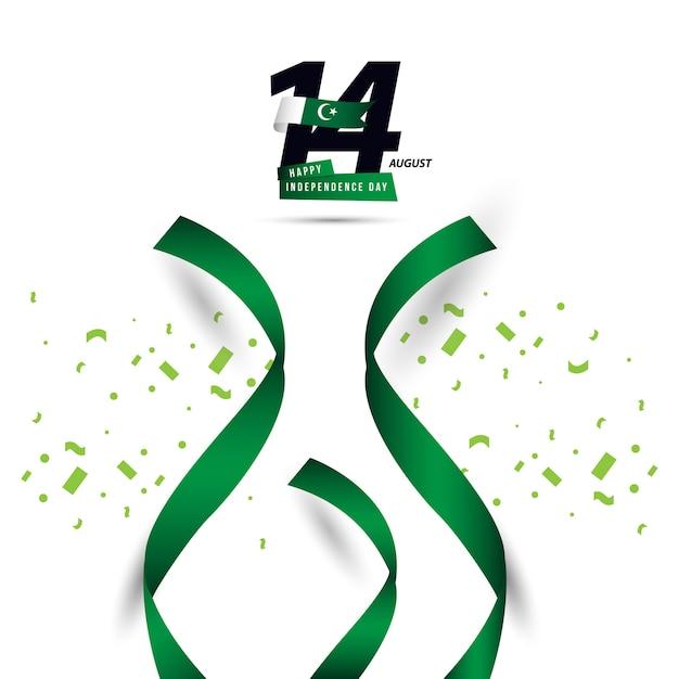 Progettazione felice del modello di vettore di giorno dell'indipendenza del pakistan Vettore Premium