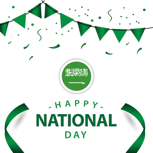 Progettazione felice del modello di vettore di giorno nazionale dell'arabia saudita Vettore Premium