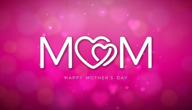 Progettazione felice della cartolina d'auguri di festa della mamma con i cuori che cadono e la lettera di tipografia su fondo rosa brillante. Vettore gratuito