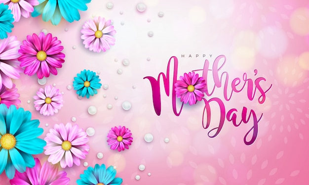 Progettazione felice della cartolina d'auguri di festa della mamma con la lettera di tipografia e del fiore su fondo rosa. Vettore gratuito