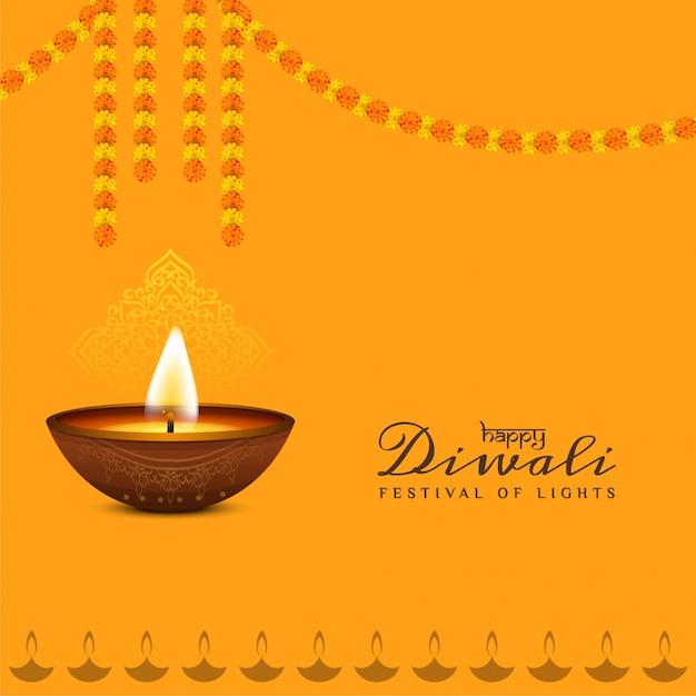 Progettazione felice religiosa del fondo di diwali con la ghirlanda Vettore gratuito