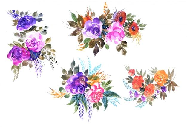 Progettazione floreale di vettore dell'insieme di belle nozze del mazzo Vettore gratuito