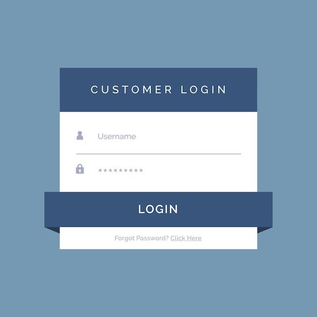 Progettazione form di login piatta su sfondo blu Vettore gratuito