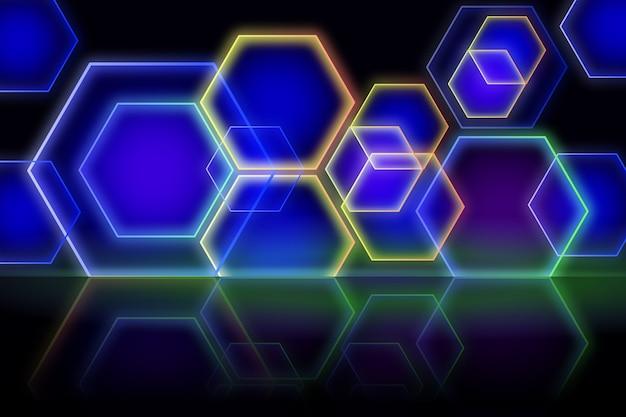 Progettazione geometrica del fondo delle luci al neon di forme Vettore gratuito