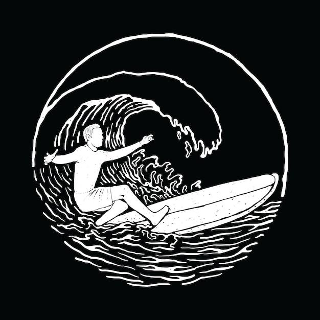 Progettazione grafica praticante il surfing della maglietta di arte di vettore dell'illustrazione della spiaggia di estate Vettore Premium