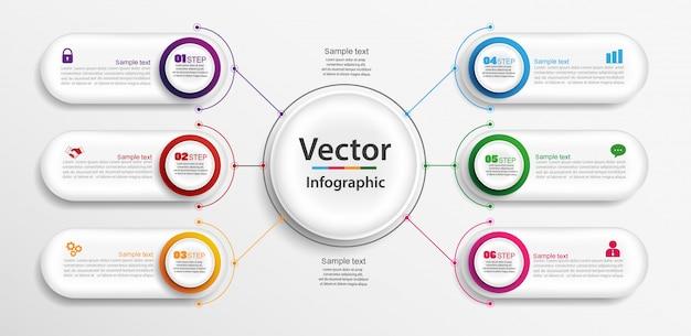 Progettazione infografica con 6 opzioni, passaggi o processi Vettore Premium
