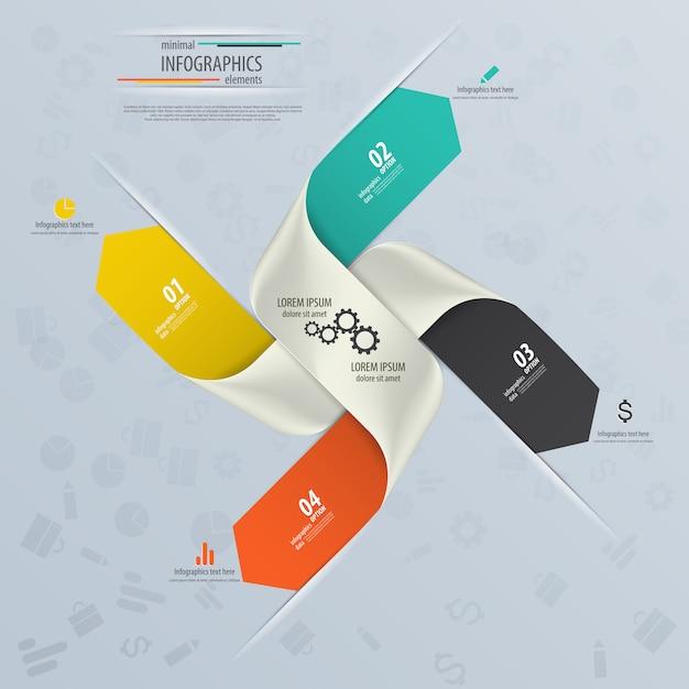Progettazione infografica con numeri Vettore Premium