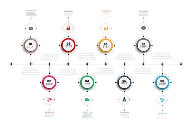 Progettazione infografica timeline con 8 opzioni Vettore Premium