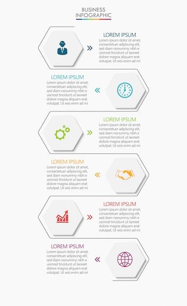 Progettazione infographic delle icone di cronologia di visualizzazione di dati di affari Vettore Premium