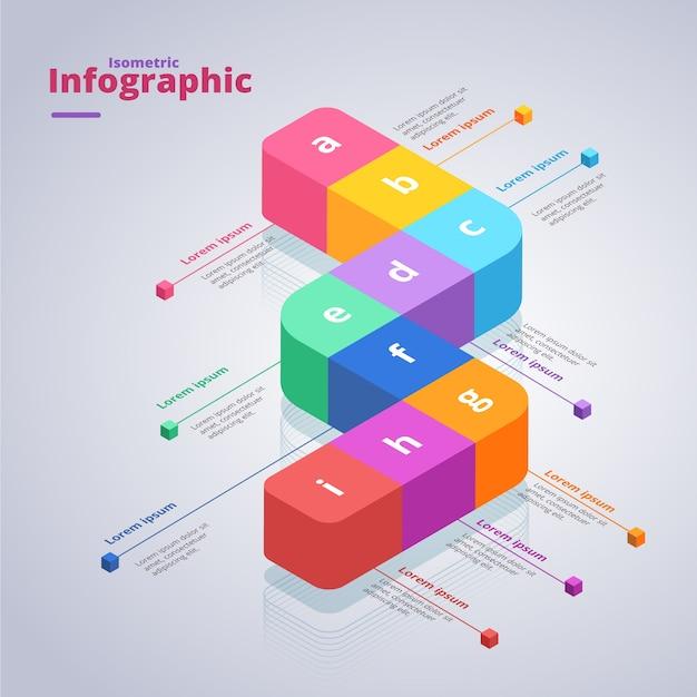 Progettazione isometrica del modello di raccolta infographic Vettore gratuito