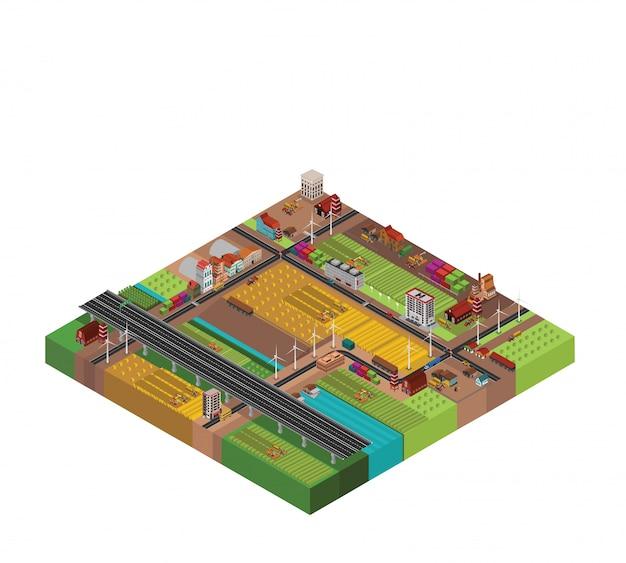 Progettazione isometrica della campagna dell'azienda agricola Vettore Premium