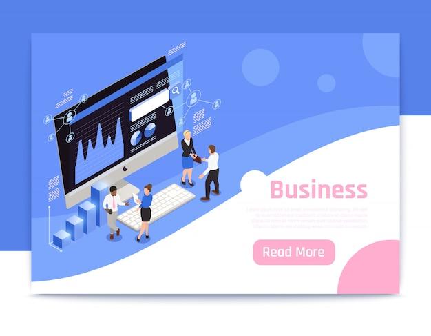 Progettazione isometrica della pagina di strategia aziendale con l'illustrazione di simboli di vendita Vettore gratuito