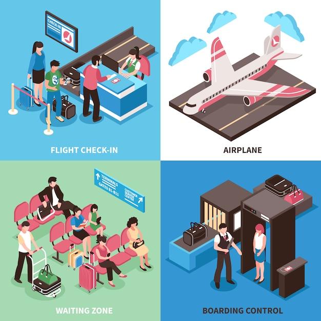 Progettazione isometrica di concetto di partenza dell'aeroporto Vettore gratuito