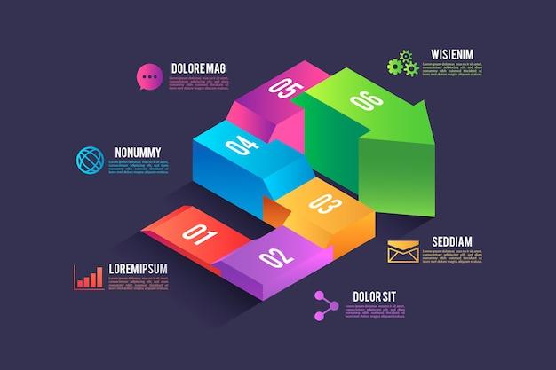 Progettazione isometrica di elementi di infografica Vettore gratuito