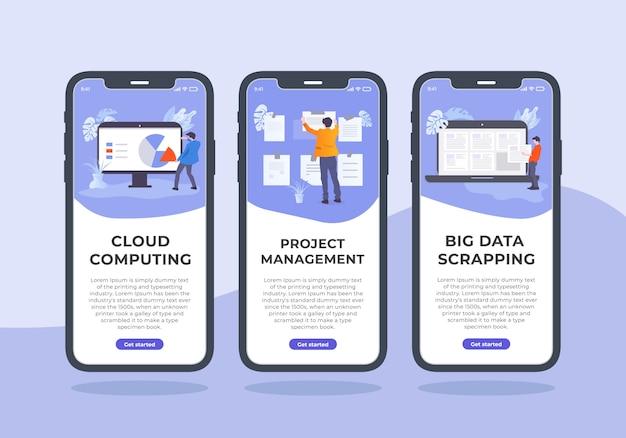 Progettazione mobile kit di gestione dell'interfaccia utente. in questo contenuto sono disponibili tre modelli di interfaccia utente per iphone che sono il cloud computing, la gestione dei progetti e la rottamazione dei big data. Vettore Premium