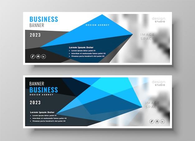 Progettazione moderna blu geometrica della bandiera di presentazione di affari Vettore gratuito