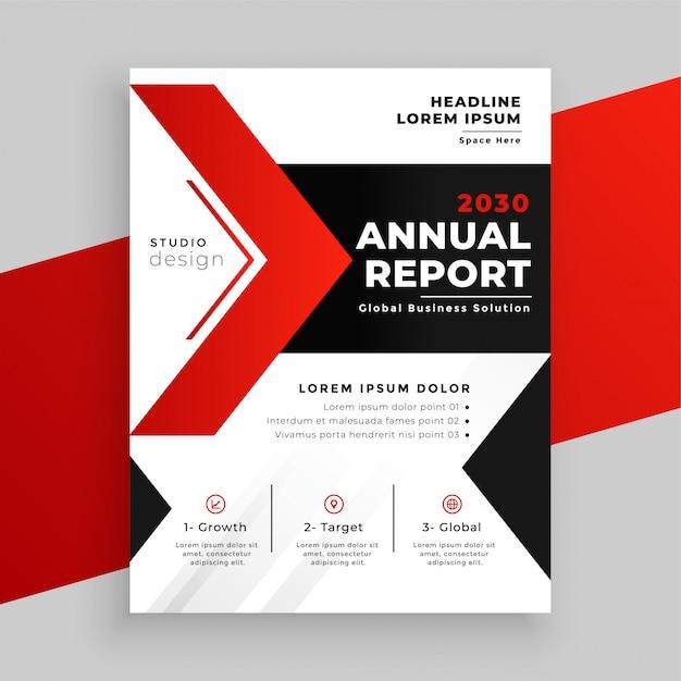 Progettazione moderna del modello di affari del rapporto annuale di tema rosso Vettore gratuito
