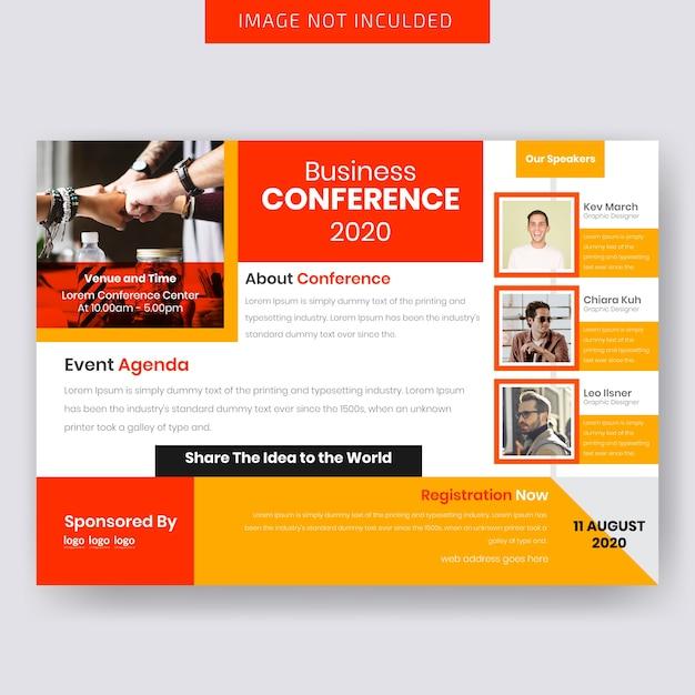 Progettazione orizzontale di flyer business conferance Vettore Premium