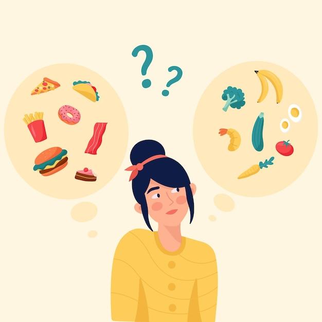 Progettazione piana che sceglie fra l'illustrazione sana o malsana dell'alimento Vettore gratuito
